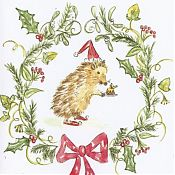 Hedgehog with Christmas Pudding Card